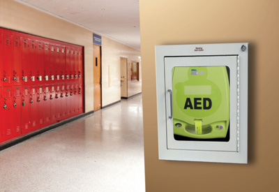 AED Plus on school wall